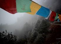 Gebedsvlaggen in de mist- Mongar - Bhutan - foto: Mieke Arendsen