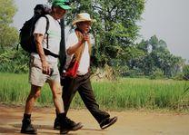 Cambodja - Siem Reap - wandeling door het rijstveld