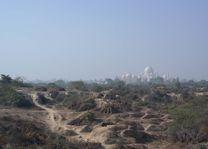 zicht op Taj Mahal vanaf platteland - Agra - India - foto: Mieke Arendsen