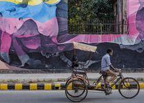 muurschildering en riksja in Delhi - Delhi - India - foto: Ashfaq Rah