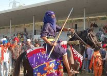 man op paard Hola Mohalla festival - India - foto: lokaal agent