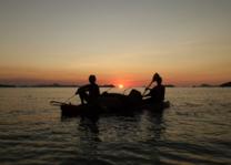kano - zonsondergang - expeditie - onbewoond eiland - El Nido - Coron - Filipijnen