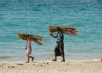 mannen met brandhout op strand - Ngapali - Myanmar - foto: Berry ter Horst
