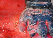 Voet heilig offerbeeld - Nepal - foto: Archief