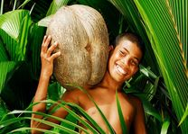 Jongetje met kokosnoot - Seychellen - foto: Seychelles Tourist Office