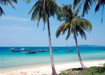 palmbomen en bootjes in zee Phu Quoc - Phu Quoc - Vietnam