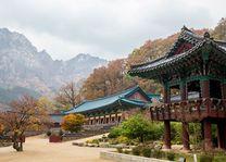 Gebouw van de Buddhistische Sinheungsa tempel, Seoraksan nationaal park - Zuid-Korea
