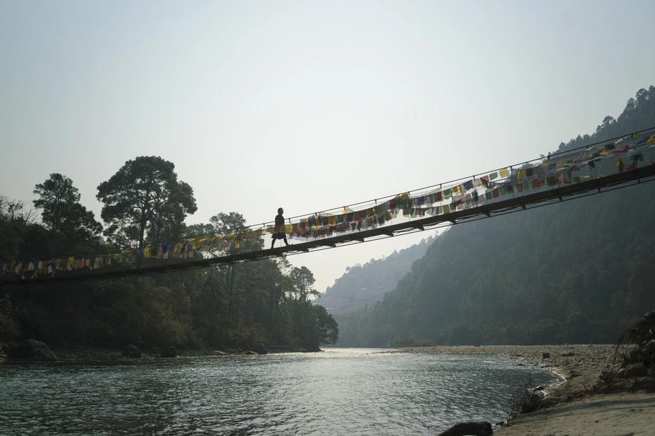 Amankora Punakha suspension bridge hangbrug Punakha Bhutan - foto: Amankora Punakha