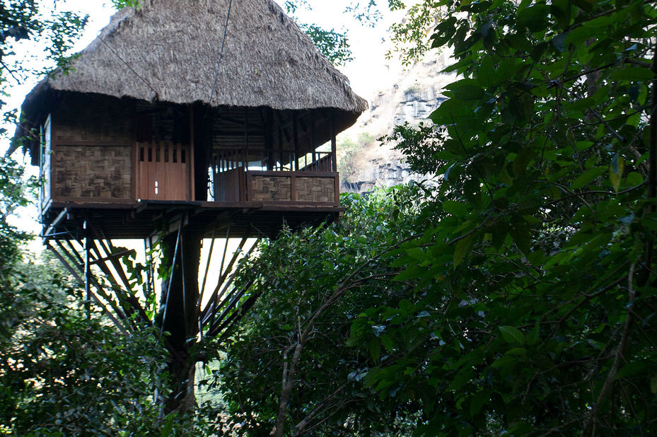 Laos - Bolaven Plateau - Tree Top Explorer - boomhut exterieur - foto: Tree Top Explorer
