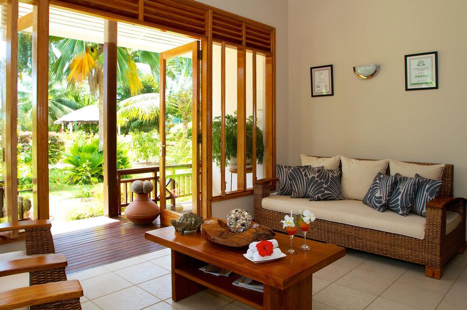 Les Villas dOr - chalet lounge - Praslin - Seychellen - foto: Les Villas dOr