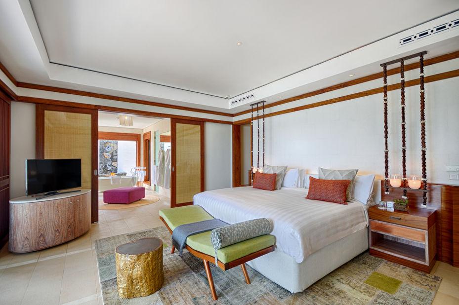 Shangri-La Le Touessrok - slaapkamer - oostkust Mauritius - foto: Shangri-La Le Touessrok