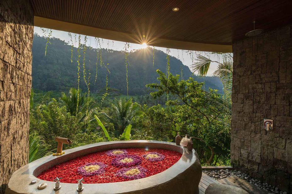 badkamer - Wapa di Ume - Sidemen - Bali - Indonesië - foto: Wapa di Ume Sidemen