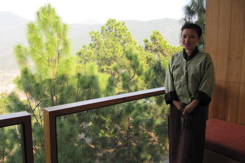 balkon van het Dhensa Boutique hotel - Dhensa Boutique - Bhutan - foto: Mieke Arendsen