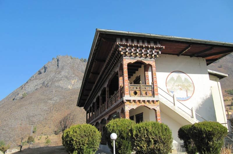 oude vleugel van Rigsum Resort - Rigsum Resort - Bhutan - foto: Mieke Arendsen