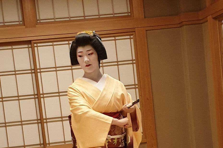 familie Kamerbeek ontmoet een geisha in Japan