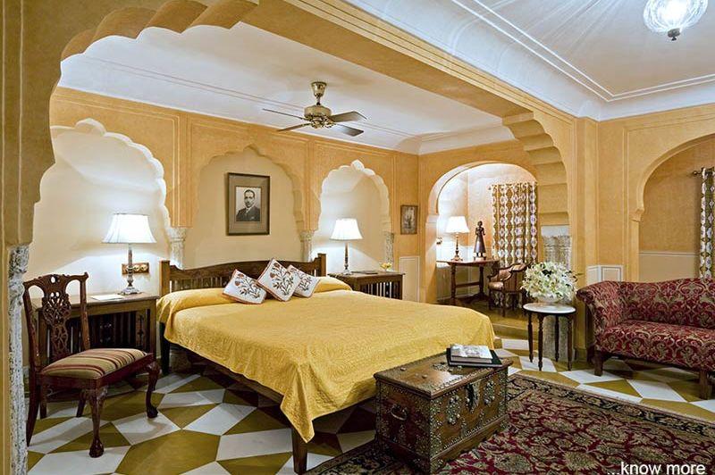 slaapkamer Samode Haveli - Jaipur - Samode Haveli - India - foto: Samode Haveli