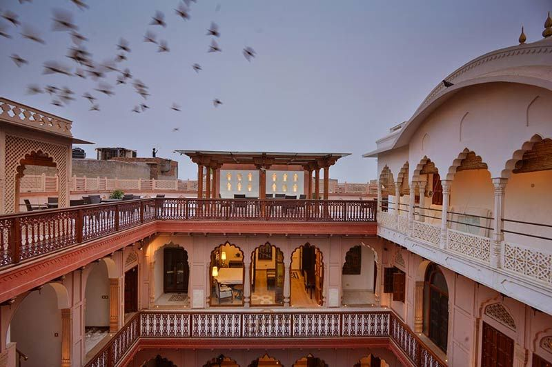 Haveli Dharampura met vogels - Delhi - India - foto: Mieke Arendsen