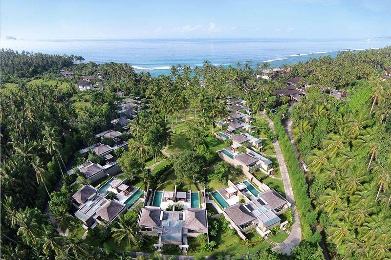 luchtfoto van Candi Beach Resort Candidasa - Candi Beach Resort Candidasa - Indonesië - foto: Lokale agent