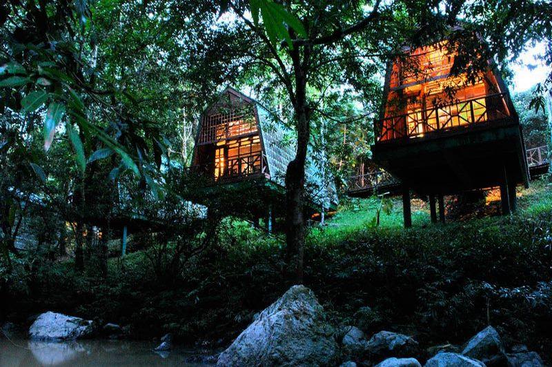 River Lodge bij avond - Tabin Wildlife Resort - Maleisië
