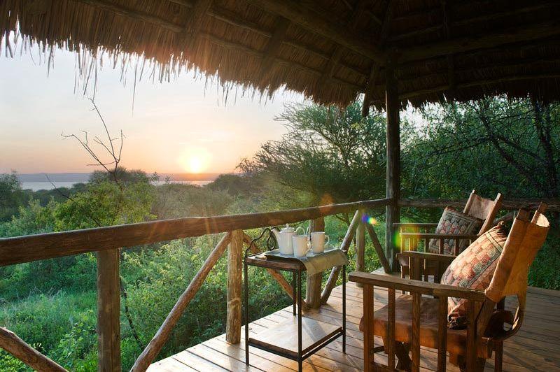 Uitzicht vanaf de veranda - Burunge Tented Camp - Tanzania