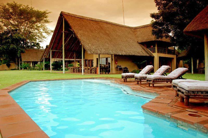zwembad met ligbedden van Buckler's Africa bij Komati Poort - Buckler's Africa - Zuid-Afrika