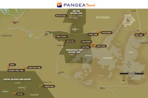 Makgadikgadi en Nxai Pan - kaart - Botswana