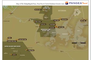 Makgadikgadi en Nxai Pan - kaart - Botswana - foto: Safari Destinations