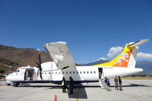 Druk Air vliegtuig in Bhutan