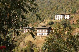 Dorpje op heuvel, Punakha