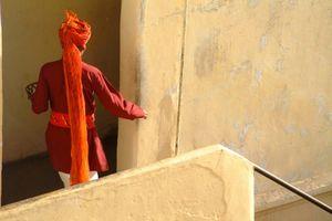 dienstbode op trap - Jaipur - India