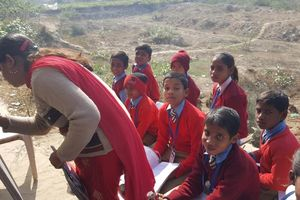 schoolklas in uniform - Agra - India