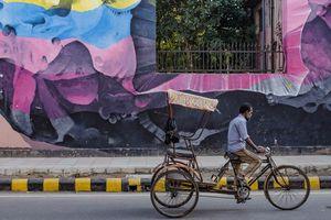 muurschildering en riksja in Delhi - Delhi - India