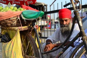 man met fiets in Amritsar - Amritsar - India