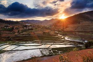 Zonsondergang rijstvelden - Madagaskar