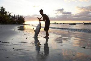 jongen met grote vis op strand van Mauritius - Mauritius