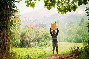 Oegandees jongetje met jerrycan in Bwindi - Bwindi - Oeganda