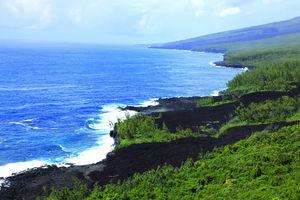 Le Grand Brûlé/lava in zee van vulkaan - Reunion - Réunion