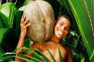 Jongetje met kokosnoot - Seychellen