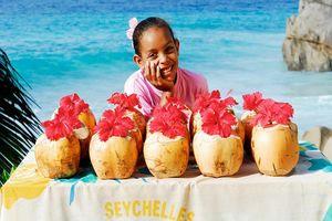 Meisje met kraampje - Seychellen