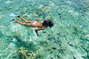 Snorkelende vrouw - Seychellen
