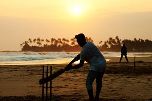 Cricket aan het strand