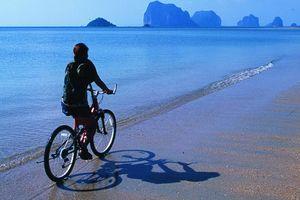 fietsen op strand