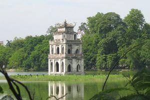 pagode in Hoan Kiem meer - Hanoi - Vietnam