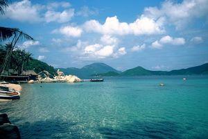 palmbomen en bootjes in zee Whale Island