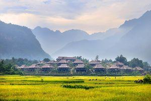 uitzicht Mai Chau Ecolodge vanaf de heuvel (3) - Mai Chau Ecolodge - Vietnam