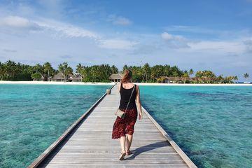 Collega Rianne op de Malediven